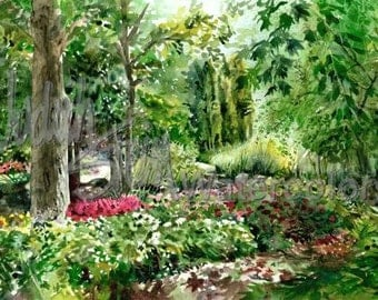 """Path in Park With Lush Trees, Pink Fuchsia Flowers Along Waling Path Watercolor Painting Print, Wall Art, Home Decor, """"Down the Garden Path"""""""
