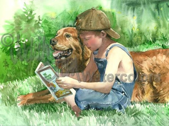 "Boy & Golden Retriever Pet Dog Reading Book in Meadow Children Watercolor Painting Print, Wall Art, Home Decor, ""Dog's Best Friend"" by Stein"