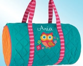 Quilted Duffle Bag - Personalized and Embroidered - PINK OWL