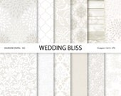 Wedding Digital Paper, White wedding digital paper, lace digital paper, DIY wedding favor - 563