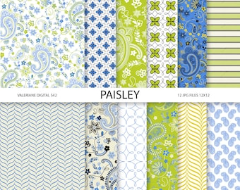 Paisley Digital paper pack in blue green and yellow, digital backgrounds - 12 jpg files 12x12 - INSTANT DOWNLOAD  542