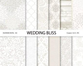Wedding Digital Paper, White wedding digital paper, lace digital paper, DIY wedding favor - 563