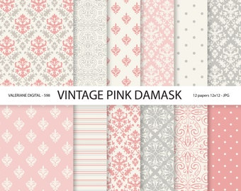 Pink Damask Paper, vintage pink damask digital paper, wedding papers, scrapbook paper, scrapbooking - 598