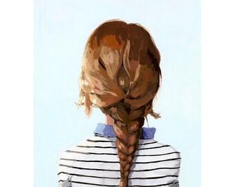 """5x7"""" hair art - braid print - """"Braid 8"""" giclee print"""