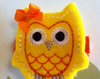 Yellow and Orange Fall - Halloween-Candy Corn Felt OWL Hair Clip Babies, Toddlers, Little Girls