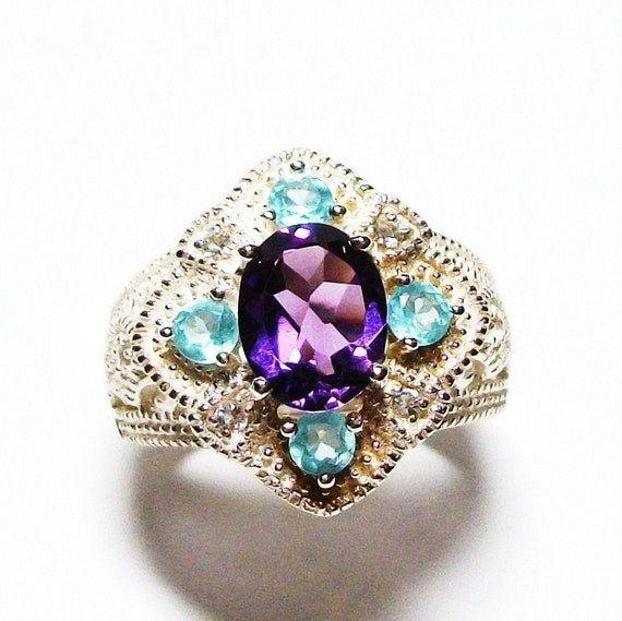 "Amethyst ring, cocktail ring, purple ring, purple, purple jewelry,   s6 -  ""Cinderella"""