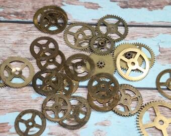 4 Vintage Brass Small Flat Gears
