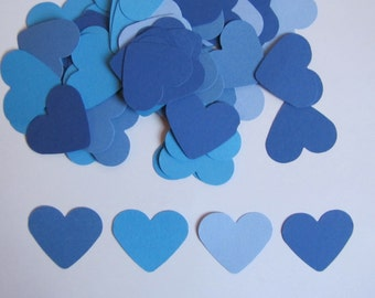 100 Blue Hearts- Hand Punched, Die Cut Embellishments-Four Shades of Blue- Confetti