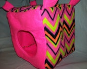 "8"" Cube Neon Chevron on Neon Pink Fleece for Ferrets or Rats"