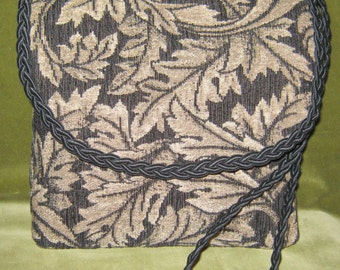 Upcycled Purse in Beige and Black Leaves