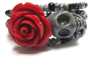 Sugar Skull Bracelet Day Of The Dead Wrap Cuff Gray Silver Black Red Rose