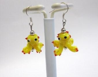 Octopus Earrings Lampwork Yellow Red Mr Grabby