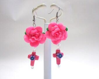 Cross Earrings Hot Pink Rose