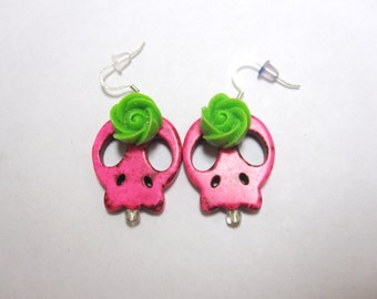 Sugar Skull Earrings Day of the Dead Hot Pink Green Rose