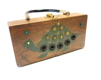 Enid Collins Original Box Bag Turtle Poki Wood Purse Hand Bag