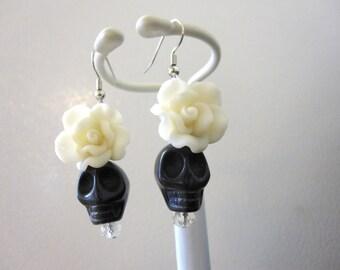 Sugar Skull Earrings Black White Rose Flower