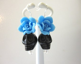 Sugar Skull Earrings Black Blue Rose Day Of The Dead Jewelry