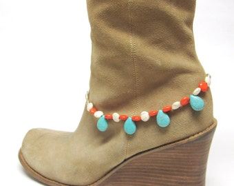 Boot Bling Bracelet Turquoise Blue Coral Orange White Silver Western Cowgirl Jewelry