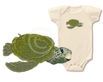 Organic turtle onesie bodysuit, organic baby tshirt, gender neutral