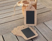 LARGE Burlap Chalkboard Hang Tags - 12 total