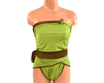 Medium Reversible Swimsuit Chocolate Brown and Lime Green Bathing Suit One Wrap Swimsuit Badeanzug traje de baño Maillot de Bain Réversible