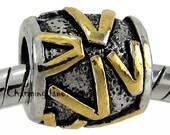 1x Initial LETTER V PUGSTER European Bead Charm Bracelet Christmas Gift Jewelry Monogram Name