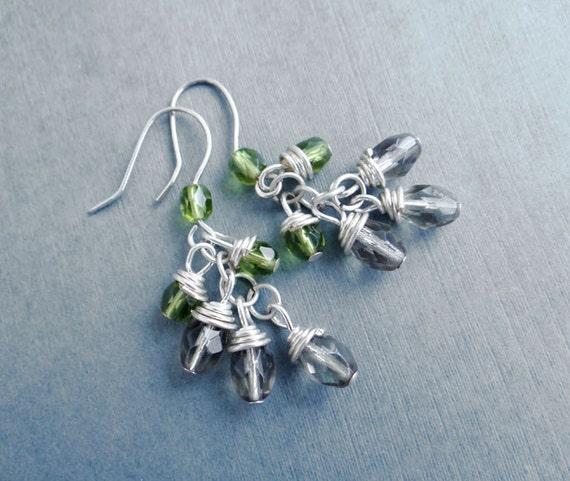 Wire Wrapped Cluster Earrings, Green Grey Dangle Beaded Earrings, Olivia earrings