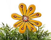 Flower garden art - plant stake - garden marker - garden decor - flower ornament - ceramic flower - abstract - yellow