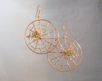 Large Copper spider web earrings with green crystal spiders (MX-13006-008)