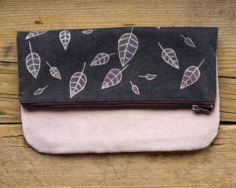 Nature Inspired Foldover Clutch in Brown and Pink with Hand-painted Leaves, Natural Materials, Gold Metallics