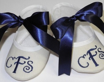 Baby Baptism Shoes - Monogrammed Baby Booties - Baby Shoe Christening - Newborn to 14 months sizes