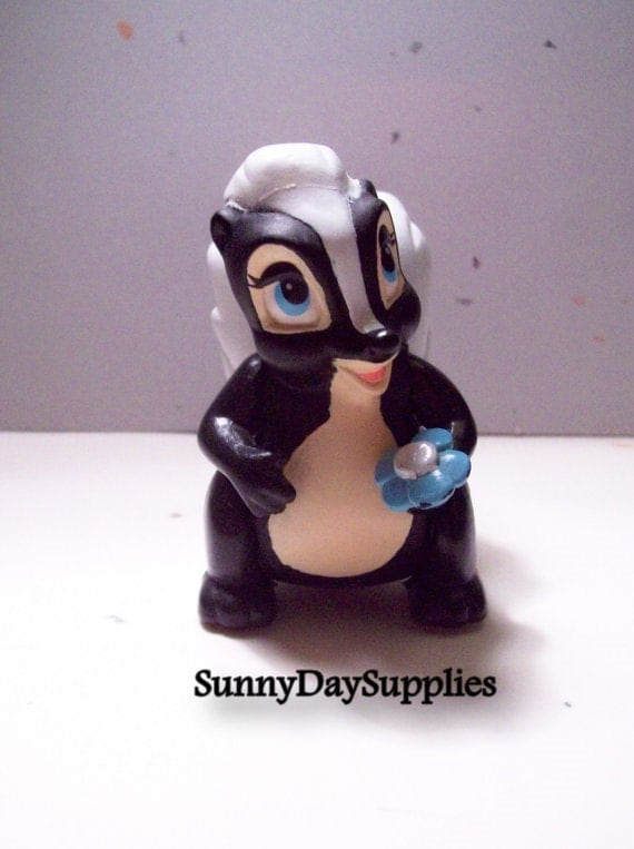 Vintage Mcdonalds Happy Meal Toys, Bambi,  Disney Characters, Flower the Skunk,  1988 toys, Clean,  Bambi Toys
