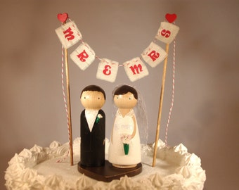 Large Size Cake Topper Includes Bunting, Base, and 3D Bride and Groom Fully Customizable
