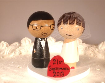 Kokeshi Wedding Cake Topper with Mini Love Heart Stand Custom Cake Topper with Tiny Heart on Heart Stand