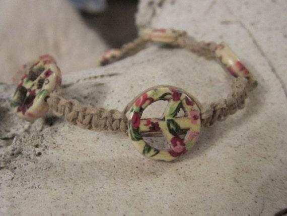 Peace Sign Jewelry Beaded Anklet Macrame Jewelry Beach Jewelry Hemp Jewelry