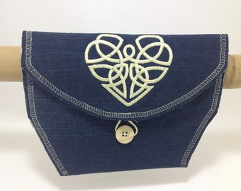 Bicycle Handlebar Bag with Denim and Yellow Embroidered Heart