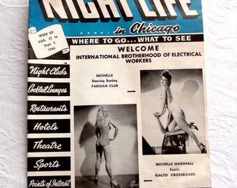 1950s Chicago tourist entertainment magazine / vintage night life pin up ads & retro city maps / paperback