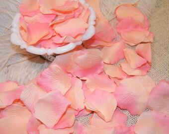 500 BULK Rose Flower Petals - Artifical - Peach and Coral Tipped -Bridal Shower Wedding Decoration - Flower Girl Basket Petals Table Scatter