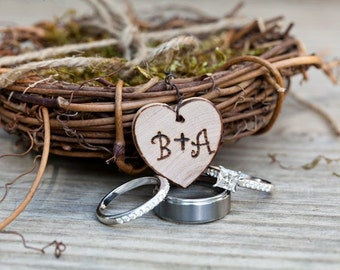 Mini Personalized Ring Bearer Twig Bird Nest Woodland Rustic Romantic Ring Pillow Alternative