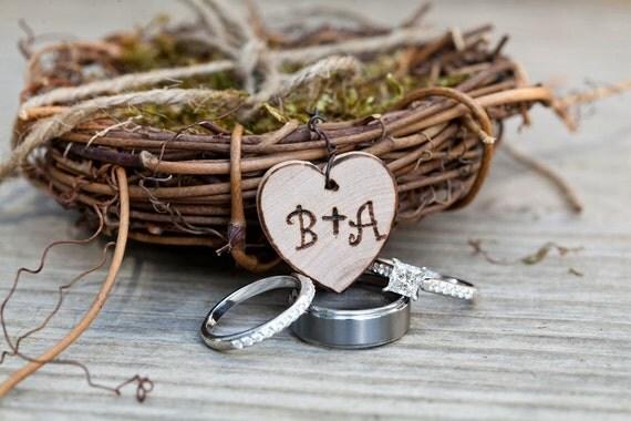 Mini Personalized Ring Bearer Twig Bird Nest Woodland Rustic Romantic Ring Pillow Alternative