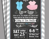 Ties or Tutus Invitation Printable or Printed With FREE SHIPPING - Gender Reveal, Twins Baby Shower or First Birthday