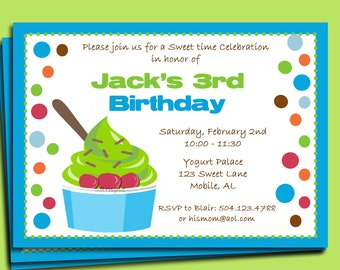 Yogurt or Ice Cream Party Invitation Printable or Printed with FREE SHIPPING