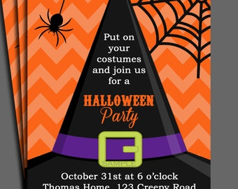 Halloween Invitation Printable or Printed with FREE SHIPPING-ANY Wording - Birthday, Halloween Party - Orange Chevron - You Pick Colors