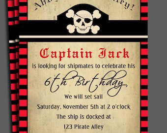 Pirate Invitation Printable or Printed with FREE SHIPPING - Swashbuckling Fun Collection