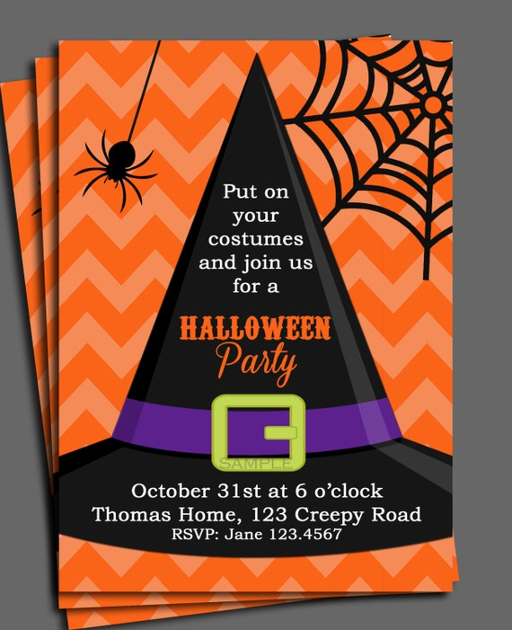 Halloween Invitation Printable or Printed with FREE
