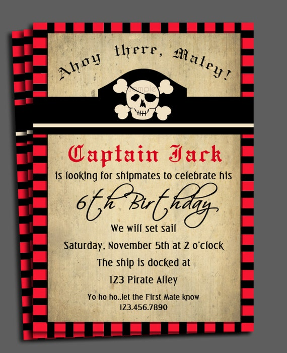 Pirate invitation printable or printed with free shipping like this item stopboris Choice Image