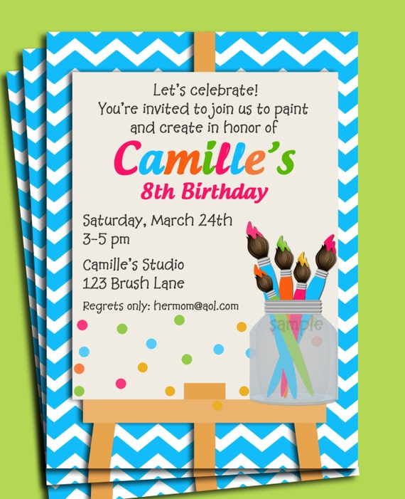 Painting art party birthday invitation printable or printed with free shipping paint my party for Paint party invitations free