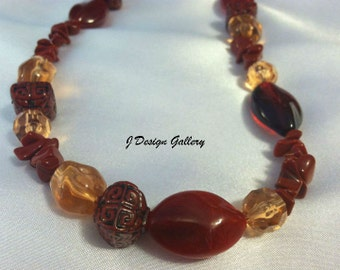 Indian Summer Red Acrylic Necklace SET
