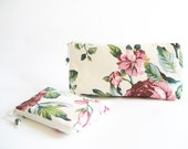Wedding Clutches, Gift for Bride, Flower Blossom Clutch, Bohemian Wedding Gift, Cosmetic Pouch and Coin Purse Set, Travel Cosmetic Bags