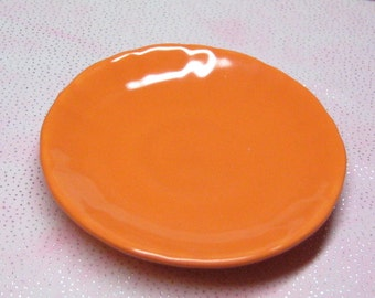 18 inch doll plate 69mm sized for American Girl party favor miniature dish orange ceramic